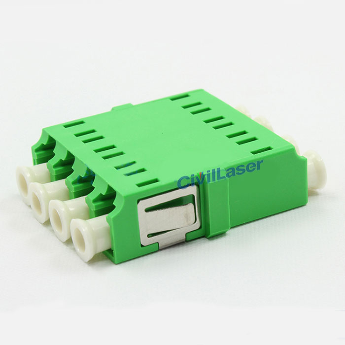 APC Connector LC Green Singal Mode Four Core Fiber Optic Adapter